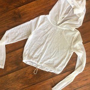 White mesh cropped hoodie - SUPER CUTE - Xs